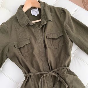 Barneys x Sunner Coop shirt dress in army green